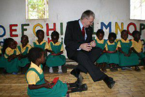 Michael Russell joins children at the Kumbali kindergarten in Malawi