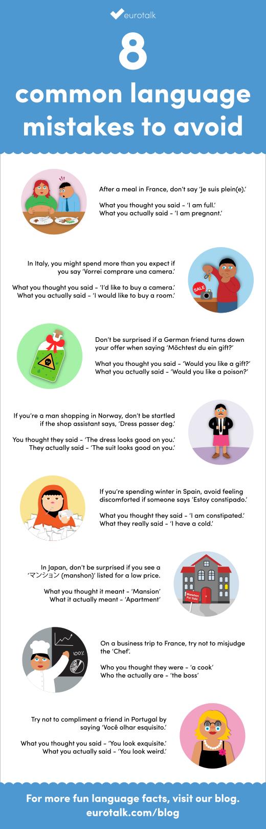 EuroTalk's 8 common language mistakes to avoid