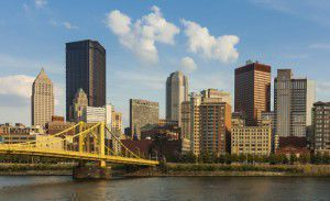 Pittsburgh downtown skyline by the river Pennsylvania