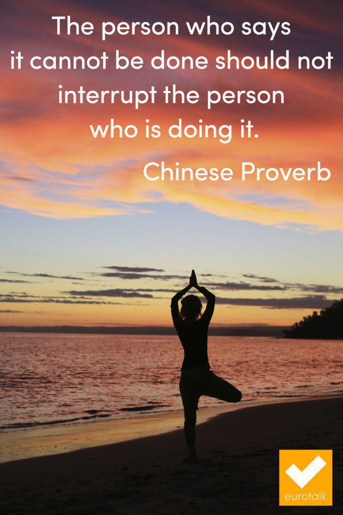 """The person who says it cannot be done should not interrupt the person who is doing it."" Chinese proverb"