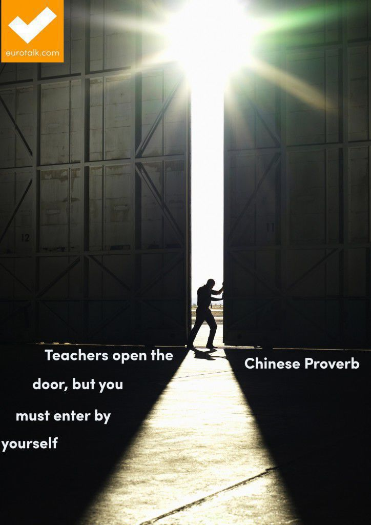 """""""Teachers open the door, but you must enter by yourself."""" Chinese proverb"""