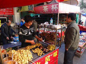 Street food, stinky tofu