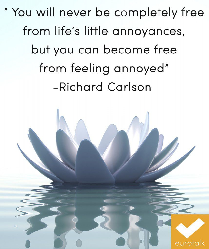 """You will never be completely free from life's little annoyances, but you can become free from feeling annoyed."" Richard Carlson"