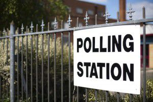 UK polling station on election day