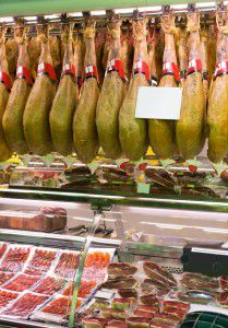 Jamon store at Spanish supermarket
