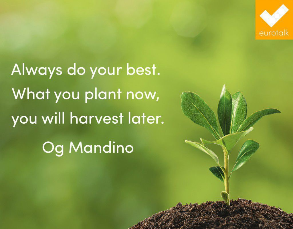 """Always do your best. What you plant now, you will harvest later."" Og Mandino"