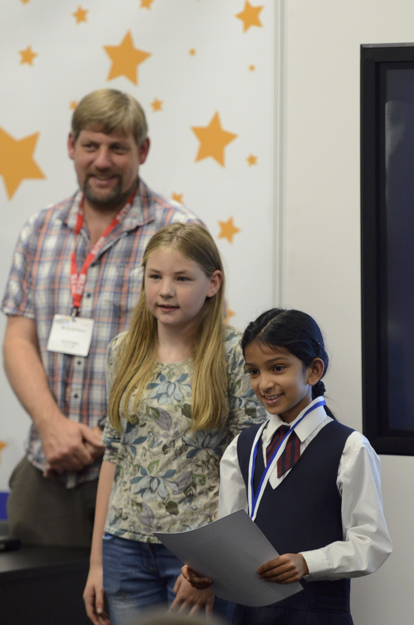 Aalaya and Martha Payne at the Junior Language Challenge final 2013